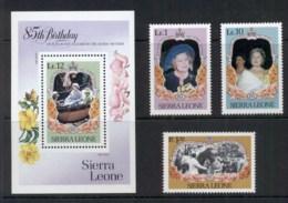 Sierra Leone 1985 Queen Mother 85th Birthday + MS MUH - Sierra Leone (1961-...)