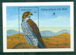 Sierra Leone 1989 Endangered Species, Bird, Kestrel Falcon MS MUH - Sierra Leone (1961-...)