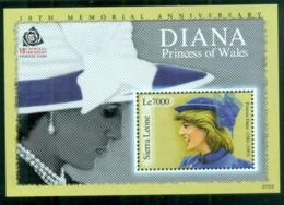 Sierra Leone 2007 Princess Diana In Memoriam, 10th Anniv., A Beautiful Princess MS MUH - Sierra Leone (1961-...)