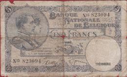 5 Frank 1938 Cinq Francs Koninkrijk Royaume De Belgie Belgique Belgium Oud Bankbiljet Banknote Billet - 20 Francs