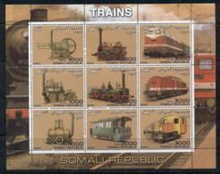 Somali Republic 2000 Trains MS MUH (crease TRC) MUH - Somalia (1960-...)