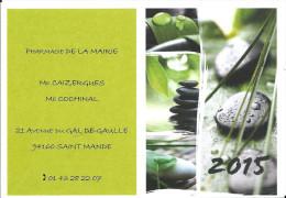 Calendrier De Poche Publicitaire , Année 2015 , Pharmacie De La Mairie , 94160 Saint Mandé , Galets Et Feuilles - Calendari