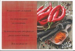 Calendrier De Poche Publicitaire , Année 2015 , Pharmacie De La Mairie , 94160 Saint Mandé Piments épices Et Poivres - Calendari