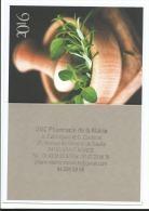 Calendrier De Poche 2016 : Saint Mandé Val De Marne Pharmacie De La Mairie, Herbes Aromatiques - Calendari