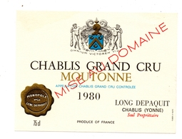 Etiquette Chablis Grand Cru Moutonne  Depaquit 1980 - Bourgogne