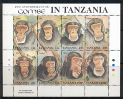 Tanzania 1992 Chimpanzees Of Gombe Sheetlet MUH - Swaziland (1968-...)