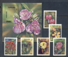 Tanzania 1994 Flowers + MS MUH - Swaziland (1968-...)