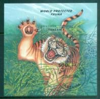 Tanzania 1994 Protected Fauna, Tiger MS CTO Lot84829 - Swaziland (1968-...)