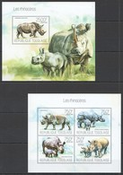 D571 2013 TOGO FAUNA WILD ANIMALS LES RHINOCEROS KB+BL MNH - Rhinozerosse
