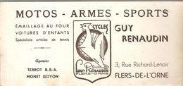 Buvard MOTOS ARMES SPORTS Guy Renaudin 3; Rue Richard Lenoir à Flers De L'Orne - Automotive