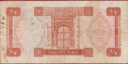 Quarter Dinar Libya Libie Oud Bankbiljet Old Banknote Billet - Libia