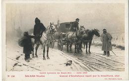 Nicolas Sicard Né à Lyon Convoi D' Ambulance Egaré Dans Le Brouillard 1870 Red Cross Salon 1909 Lyon - Croix-Rouge