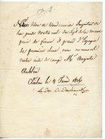95. DUC DE DOUDEAUVILLE (SOSTHENES DE LA ROCHEFOUCAULD) PETITE LAS 1816? NOMINATION DE SON AIDE DE CAMP AUGUSTE AUBLIN - Autógrafos