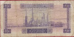 1/2 Half Dinar Libya Libie Oud Bankbiljet Old Banknote Billet - Libya