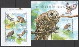 D586 2013 TOGO FAUNA BIRDS OWLS & MOUSES LES HIBOUX ET LES SOURIS KB+BL MNH - Owls
