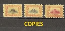 Chine Empire 1909 - Temple Du Ciel -  Série De 3 FAUX/COPIES/FORGERIES - YT 80/82 - Chine