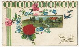 Carte Gaufrée Fleurs Rose En Soie Silk Embossed  Envoi Lussay Vers Noyers St Aignan Loir Et Cher - Ansichtskarten