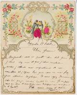 Carte Gaufrée Fleurs Rose En Soie Oiseaux Silk Embossed  Cachet Convoyeur Lille  Semeuse Lignée - Ansichtskarten