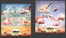 D614 2013 TOGO WILD FAUNA OF AFRICA BIRDS PINK FLAMINGOS KB+BL MNH - Flamingo