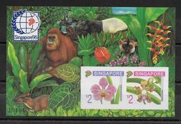SINGAPORE - 1995 - BLOC N°33 RARE EN NON DENTELE **  - ORCHIDEES + ANIMAUX - Singapour (1959-...)