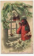 Belle Carte Gaufrée Pere Noel Et Ecureuils Santa Claus And Squirrels - Kerstman