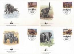 Uganda 1983 WWF African Elephant FDC - Uganda (1962-...)