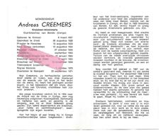 P 620. Monseigneur A. CREEMERS - °KINROOI 1907 /DIEST/HEVERLEE/KONGO/Bisschop BONDO /+NEERPELT 1971 - Images Religieuses