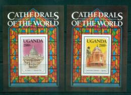 Uganda 1993 Cathederals Of The World 2x MS MUH Lot55283 - Uganda (1962-...)