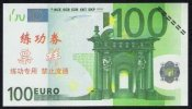 Test/training Note 100 Euros, New Typ B (with Serial No.), EURO Size, Bank Of China, RRR, UNC - EURO