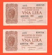 1 + 1 Lira 1944 RSI Numeri CONSECUTIVI - Italia – 1 Lira