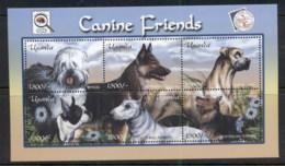 Uganda 2001 Canine Friends, Dogs MS MUH - Uganda (1962-...)