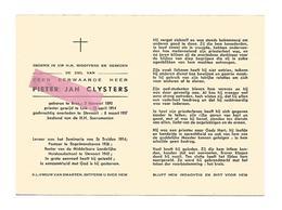 P 621. Z.E.H. PIETER  J. CLYSTERS - °BREE 1890 /LUIK/leraar ST-TRUIDEN/ENGELMANSHOVEN/Rector STEVOORT En Aldaar+1957 - Devotion Images