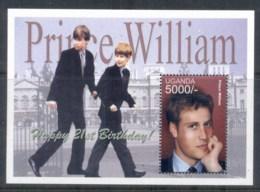 Uganda 2003 Royalty, Prince Willian 21st Birthday MS MUH - Uganda (1962-...)