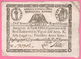 10 Paoli 1798 Stato Pontificio Repubblica Romana  Papa Pio VI - Vaticano
