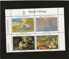 BLOC DE 4 VIGNETTES PEINTRES- VAN GOGH- MANET -GAUGUIN - MONET - MUSEE D'ORSAY - Commemorative Labels