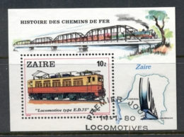 Zaire 1980 Trains MS FU - Stamps