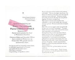 P 625. Parer Chr. PIERRE CHRISTOFFELS - °REKEM 1926 / +WIEMESMEER - ZUTENDAAL 1993 - Devotion Images