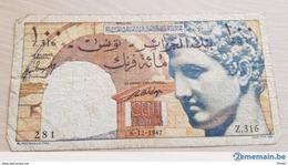 100 Francs Tunisie Banque Algérie Coloniale 1947 - Etat : TTB Valeur Catalogue = 190.00 € - Tunisia