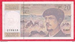 """20 Francs """"Debussy"""" 1997  ---Série T.037-----AU-UNC/SPL+ - 1962-1997 ''Francs''"""