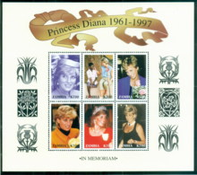 Zambia 1997 Princess Diana In Memoriam, Diana Out & About 700k MS MUH - Zambia (1965-...)