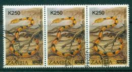 Zambia 2002 K250 Surcharge On 1994 Tiger Snake Strip 3 FU Lot24040 - Zambia (1965-...)
