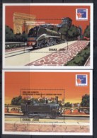 Ghana  1999 Trains, Philexfrance 2xMS MUH - Ghana (1957-...)