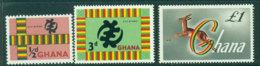 Ghana 1961 Redrawn Defins 3 Vals MUH Lot27581 - Ghana (1957-...)