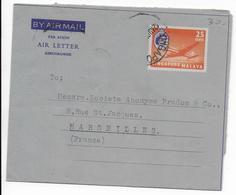 SINGAPORE - 1959 - ENTIER POSTAL AEROGRAMME (MANQUE UN TIMBRE) => MARSEILLE - Singapur (...-1959)