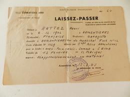 Militaria  - Armentières (59) - 1945  - Laissez-Passer - Cachet Du Commissariat D'Armentières - Documents