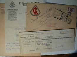 LOT DE 5 VIEUX DOCUMENTS D ENTREPRISE GEORGES LAURENT. ANNEES 50 / 60 LETTRE DE CHANGE / COURRIER G.L. SELECTIONNEUR OB - Historical Documents