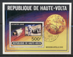Upper Volta 1973 Apollo 17 Space, Moon Landing MS CTO - Upper Volta (1958-1984)
