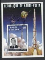 Upper Volta 1974 Charles De Gaulle, French Space Rocket MS CTO - Upper Volta (1958-1984)