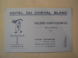 VIEILLE CARTE DE VISITE HOTEL DU CHEVAL BLANC. 77. ANNEES 50.  VILLIERS SAINT GEORGES. SEINE ET MARNE. GARAGE / CUISINE - Visiting Cards