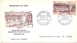 NIGER FDC 1965 NUMERADE PROMOTION HUMANE   (SET180038) - Niger (1960-...)
